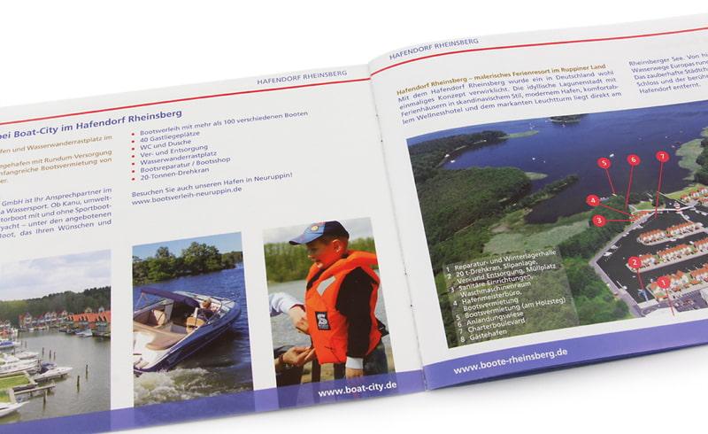 Imagebroschüre / Broschüre für Boat-City Rheinsberg aufgeklappt