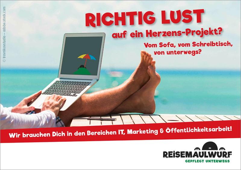 Plakat für den Berliner Verein Reisemaulwurf e.V.
