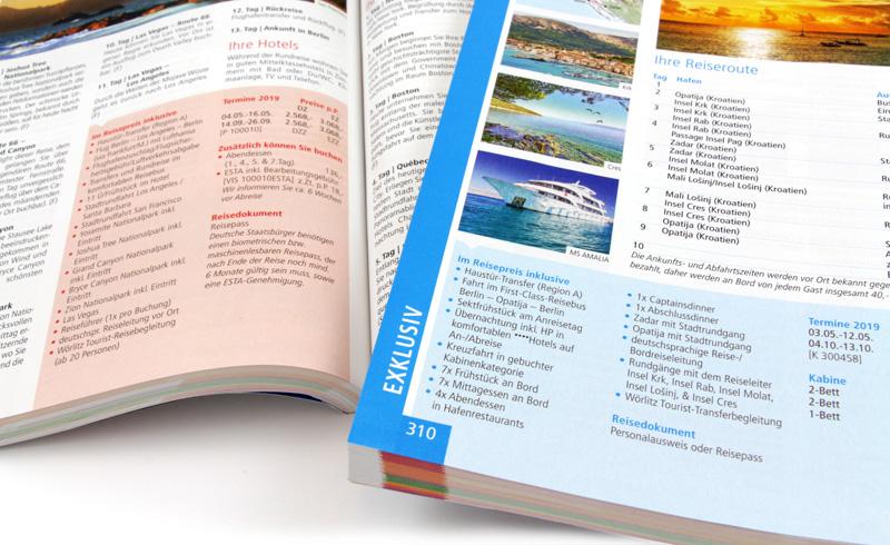Katalogproduktion Eindruecke eines Reisekatalogs