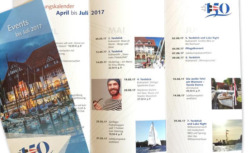 Flyer Veranstaltungskalender für den Verein Seglerhaus am Wannsee