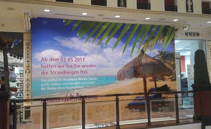 Folienbeschriftung / Baustellenbeschriftung Reisebüro Wörlitz Tourist