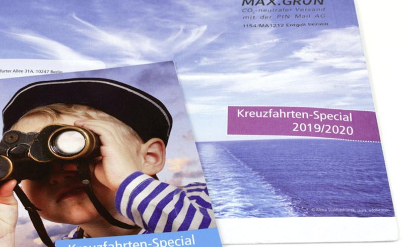 Kreuzfahrt-Borschüre und Umschlag vom Reiseveranstalter Wörlitz Tourist
