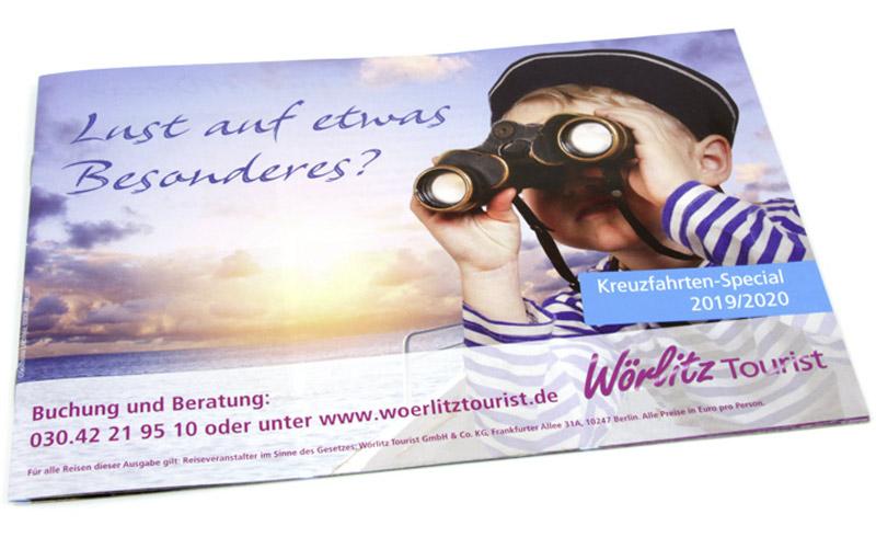 Titelgestaltung - Borschüre mit Kreuzfahrtreisen vom Reiseveranstalter Wörlitz Tourist