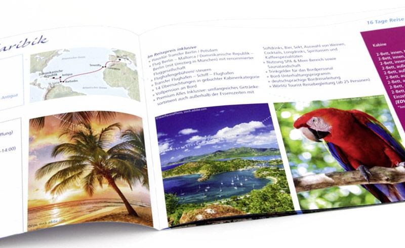 Bildsprache in der Borschüre mit Kreuzfahrtreisen vom Reiseveranstalter Wörlitz Tourist