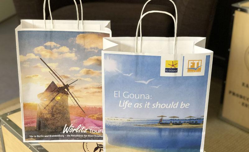 Frontansicht Papiertragetaschen für Wörlitz Tourist