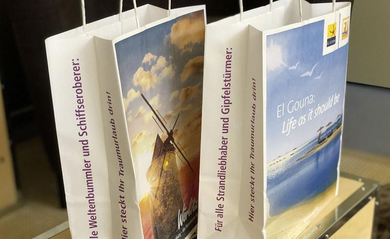 Seitenansicht Papiertragetaschen für Wörlitz Tourist