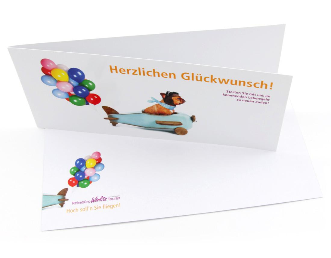 Geburtstagskarte, DIN lang mit Umschlag