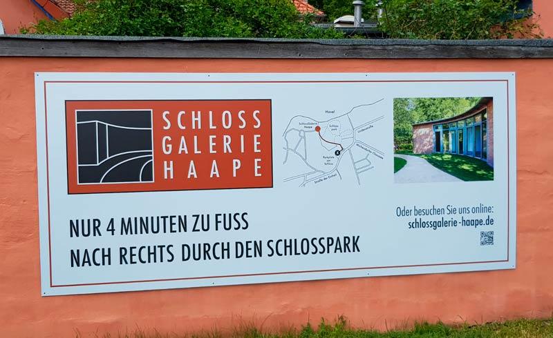 Wegweiser, Banner, Hohlkammerplatte - SchlossGalerie Haape